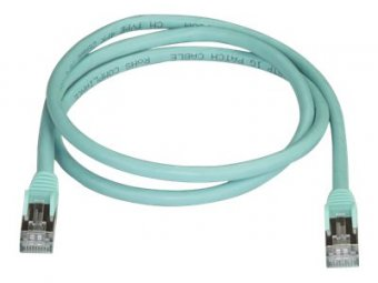 StarTech.com 1m CAT6A Ethernet Cable, 10 Gigabit Shielded Snagless RJ45 100W PoE Patch Cord, CAT 6A 10GbE STP Network Cable w/Strain Relief, Aqua, Fluke Tested/UL Certified Wiring/TIA - Category 6A - 26AWG (6ASPAT1MAQ) - Cordon de raccordement - RJ-45 (M)