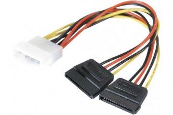 Adaptateur d alimentation Molex vers 2x SATA - 15 cm