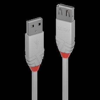 Lindy Rallonge USB 2.0 type A, Anthra Line, Gris, 0.5m