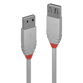 Lindy Rallonge USB 2.0 type A, Anthra Line, Gris, 1m