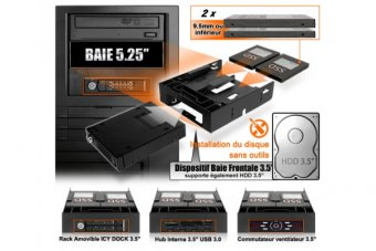 """ICY DOCK MB343SP kit 2 SSD/1 HDD dans baie 5,25"""""""