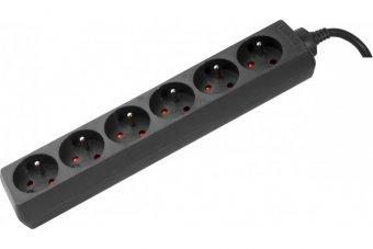 DEXLAN Multiprise 6 prises sans interrupteur noire - 1,5 m