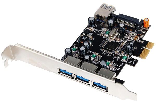 Carte contrôleur USB 3.0 PCI-Express 3 ports +1 int. +Low Profile